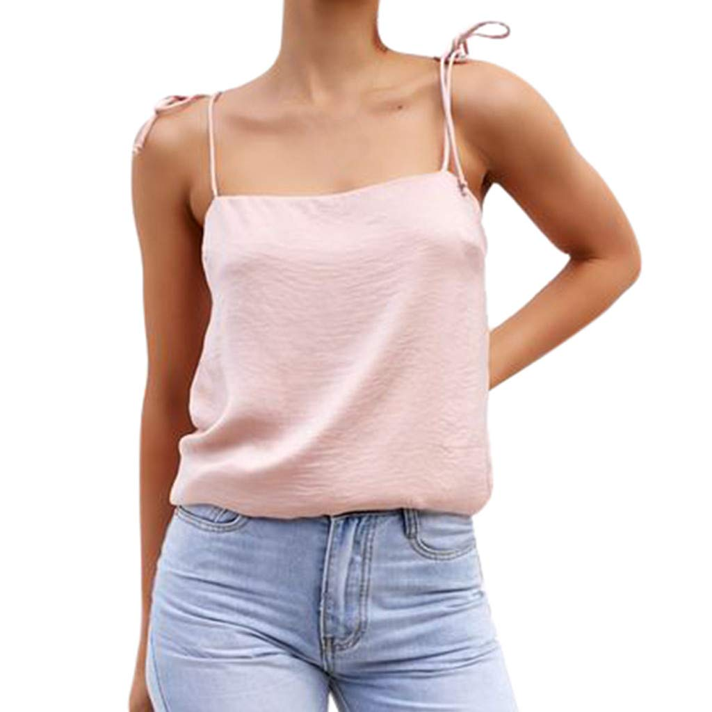 Libermall Women's Tank Tops Loose Fit Summer Sexy Bandage Solid Color Cami Vest Sleeveless Shirts Blouse Tops Pink