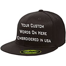 UNAMEIT Custom Flexfit 210. Personalized Hat. Embroidered. Your Text.Fitted Flat Bill