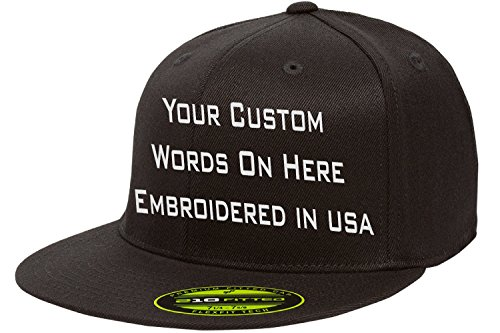 Custom Flexfit 210. Personalized Hat. Embroidered. Your Text.Fitted Flat Bill (Black, 6 7/8-7 1/4 (S/M))