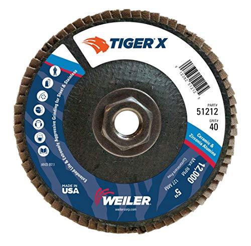 Weiler 51212 Tiger X Flap Disc, Ceramic and Zirconia Alumina, Angled, Phenolic Backing, 40 Grit, 5