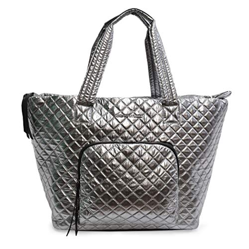 Tote Bag Nylon Quilted - Quilted Nylon Tote For Women Adrienne Vittadini Great for Going to The Gym, Beach and Outings (Gunmetal)
