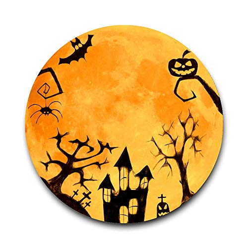 Drink Coaster Mat - Absorbent Ceramic Stone with Durable Cork Backing, Trendy Halloween Moon Clipart Decorative Coaster Protect Your Furniture