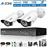 A-ZONE 4 Channel 1080P DVR AHD Surveillance Camera System W/2x HD 1.3MP waterproof Night vision Indoor/Outdoor CCTV Home Security Cameras, Including 1TB HDD