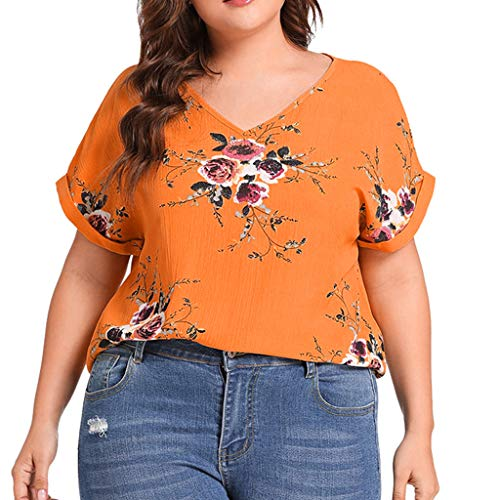 (Women Fashion Plus Size Shirt V-Neck Short Cuffed Sleeve Floral Print Casual Top Yellow)