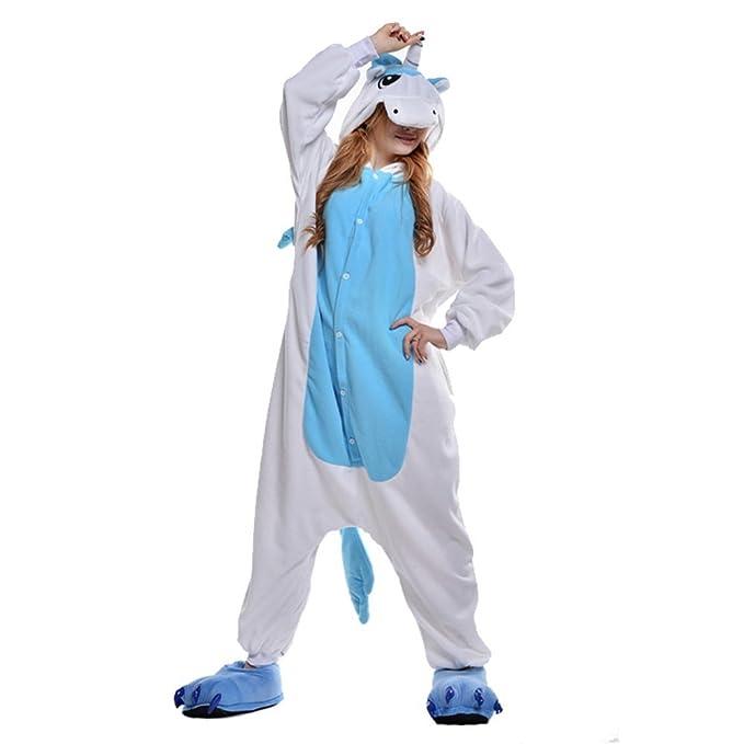 JT-Amigo Disfraz de Pijama para Unisex Adultos, Unicornio Azul, S (Altura