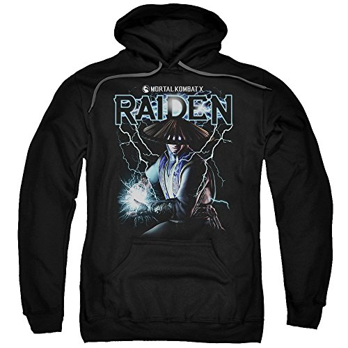 Mortal Kombat Raiden Mens Pullover Hoodie (Black, XXX-Large) (Women Of Mortal Kombat)