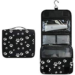 XLING Toiletry Bag Funny Animal Dog Paw Pattern Wash Gargle Bag Travel Portable Cosmetic Makeup Brush Case with Hanging Hook Organizer for Women Men