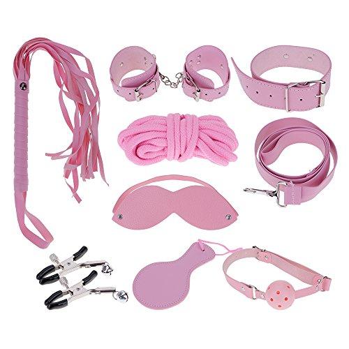 8pcs 大人着 大人のセックスゲームレザー手錠 クリップ鞭 マスク エロティックフェティッシュボンテージ ピンク