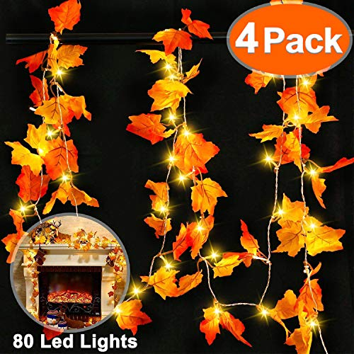 Thanksgiving Decorations Lighted Fall Garland LED String Light Maple Leaves String Light 4 Pack 40ft with 80 LED Autumn Wreath Waterproof Battery Lighted Holiday Indoor Outdoor Garden Party Supplies from Dreamoo