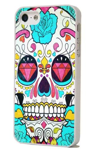 Fashion trend White Frame sugar skull roses tattoo diamond Designer iphone 5 5S Case/Back cover Metal and Hard case