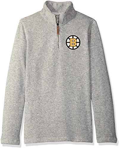 Fleece Boston Bruins Pullover - NHL Boston Bruins Mens Ccm 1/4 Zipccm 1/4 Zip, Grey Heathered, Large