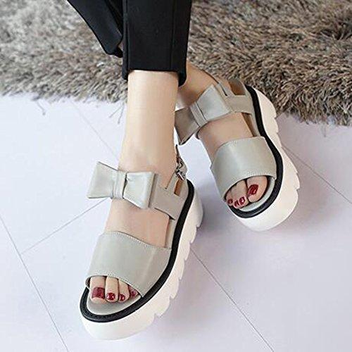Easemax Womens Sweet Bows Open Toe Buckle Straps Open Toe Platform Mid Wedge Heel Slingback Sandals Gray ZuyJVQDT1c