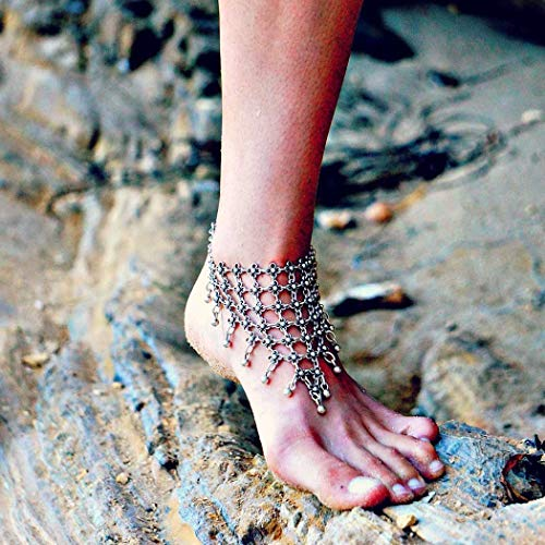 Nicute Boho Silver Bell Anklet Flower Ankle Bracelets Beach Foot Jewelry for Women and Girls