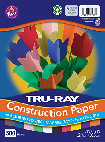 "Tru-Ray Heavyweight Construction Paper Bulk Assortment, 10 Assorted Colors, 9"" x 12"", 500 Sheets"