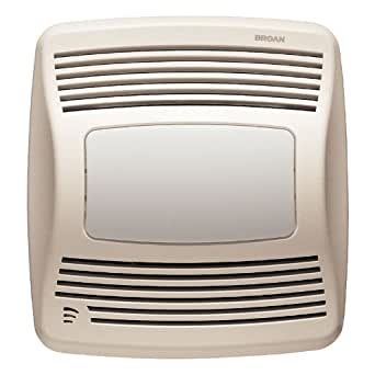 Broan Qtxe110sflt Ultra Silent Humidity Sensing Fan And Light 110 Cfm White Grille Bathroom