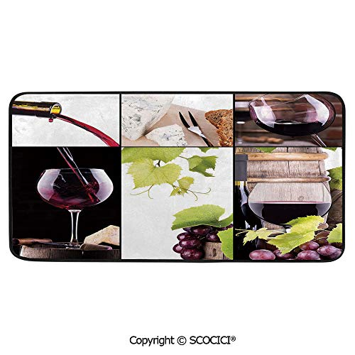 Soft Long Rug Rectangular Area mat for Bedroom Baby Room Decor Round Playhouse Carpet,Wine,Wine Collage with Barrel Bottle Wineglass Grape Gourmet Taste,39