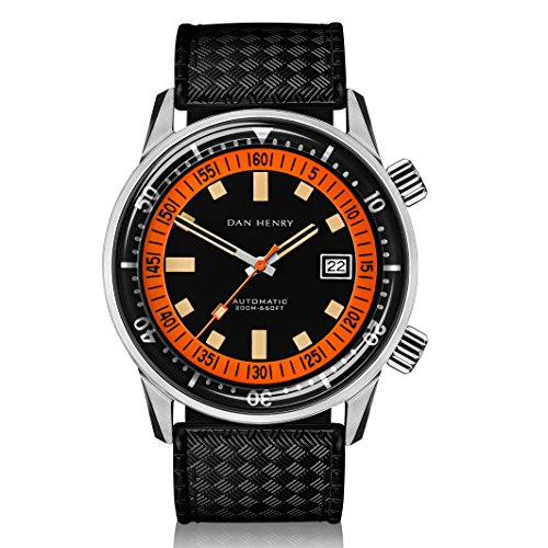Dan Henry 1970 Automatic Diver Super Compressor 200 Meters watch. Mate Black Dial with Date, Double Crown and Inner Rotating Bezel, Limited Edition, 44mm Stainless Steel Case, Black Rubber Strap Power Reserve Rubber Strap