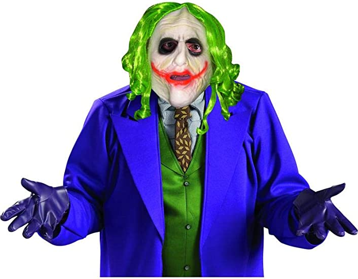 DELUXE MENS JOKER LATEX MASK /& HAIR BATMAN VILLAIN HALLOWEEN COSTUME ACCESSORY