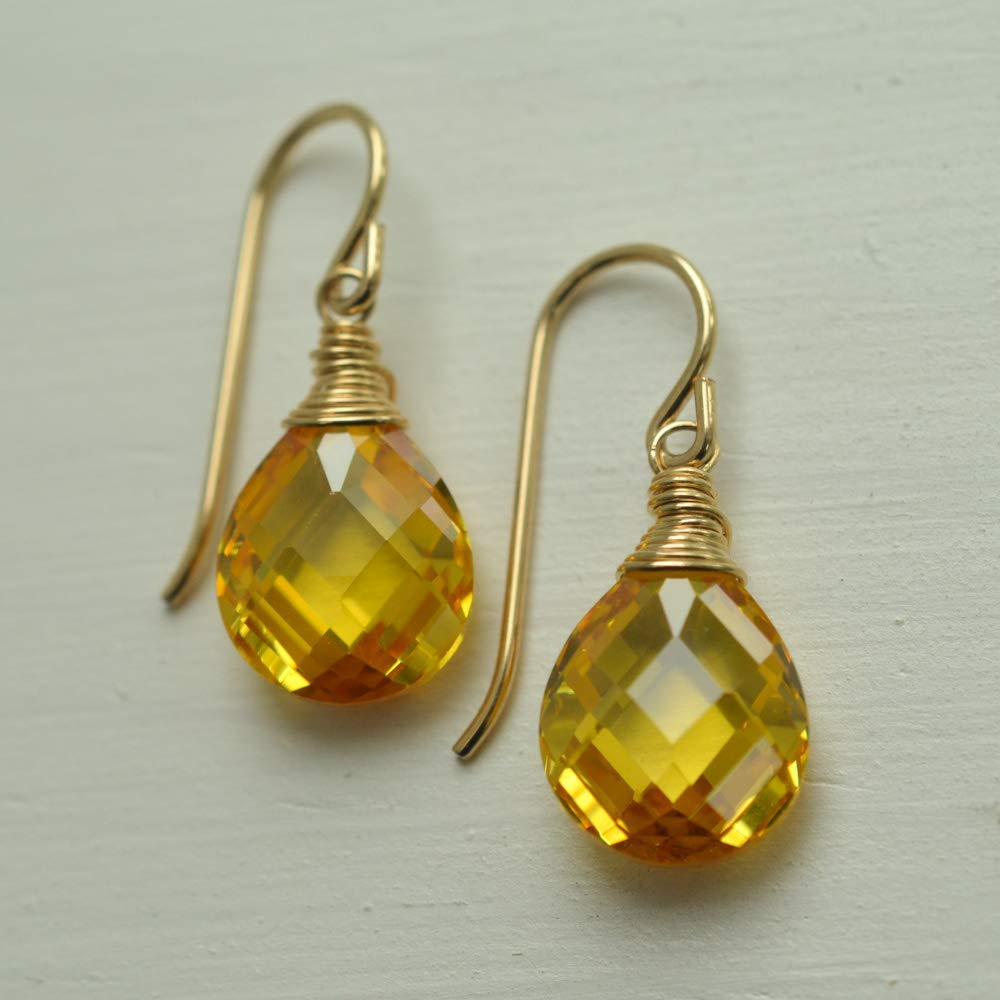 Yellow Cubic Zironia Earrings Faceted Pear 14kt Gold-filled