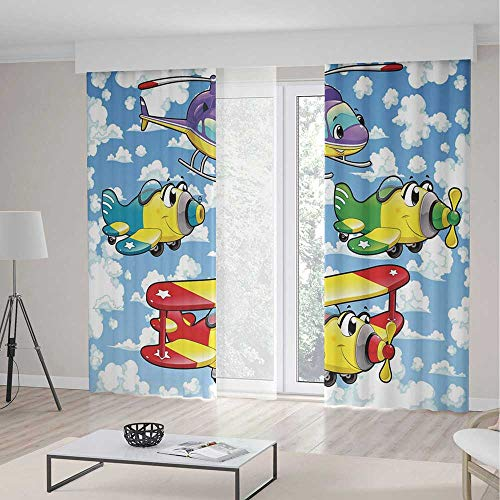 ALUONI Blackout Curtains TT01 Cartoon Decor Living Room Bedroom Window Drapes Kids Cute Airplanes and Helicopters with 2 Panel Set 118W x 106LInches