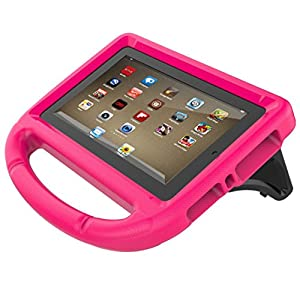For Kindle Fire HD 8 2017 , CYCTECH New Shockproof Rubber Hard Stand Kids EVA Safe Handle Case Cover For Amazon Kindle Fire HD 8 2017 7th(7th Gen 2017 Model) (Hot pink)