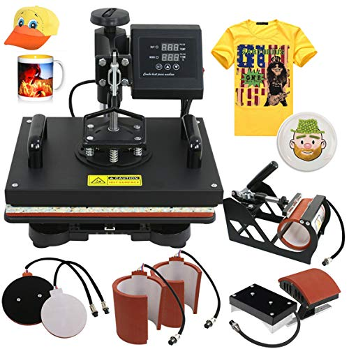 SUPER DEAL Pro 6 in 1 Combo Heat Press Machine T-shirt Hat Cap Mug Plate Digital Transfer Sublimation Machine, 12'' x 15'' Heating Plate]()