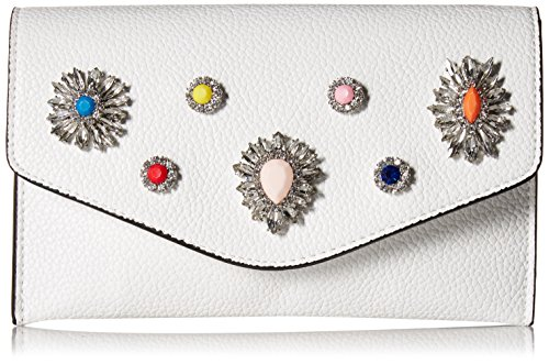 Jeweled White Handbag - Steve Madden Crown Non Leather Multi Colored Jewels and Rhinestones Clutch Crossbody, white