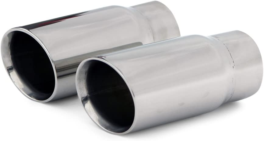 2.25/'/' Inlet 3.5/'/' Outlet 7/'/' Long Stainless Steel Exhaust Tip Double Wall Slant