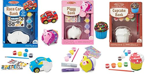 (Race Car Bank, Piggy Bank and Cupcake Bank Painting Decorate Your Own Bundle)