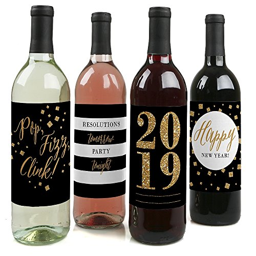 New Year's Eve - Gold - 2019 New Years Eve Party Decorations for Women and Men - Wine Bottle Label Stickers - Set of 4]()