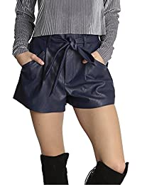 Faux Leather Shorts in Navy