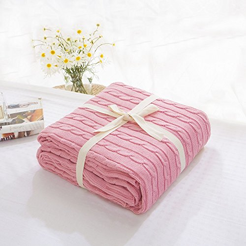 Prosshop Crocheted Blanket Fashion Handmade Super Soft Warm Twist Cotton Cable Knitting Throw Sleeping Cover Blanket Rug for Kids or Adults Bedroom Sofa/Bed/Couch/Car/ Quilt Living Room/ Office (Pink) (Sunset Quilt Pattern)