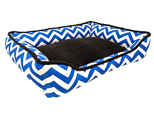 Medium Chevron Dog Bed - Black, Cobalt Blue, Sherpa - Washable Reversible by J'adore Custom Pet Beds