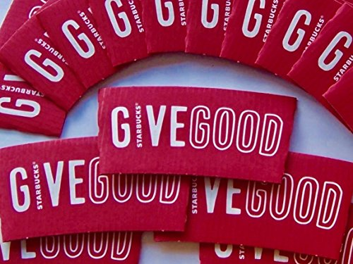 """50 Starbucks Coffee Cup Sleeves, Red """"Give Good"""" Coffee Sleeves. 50 Starbucks Sleeves Jackets for Hot Coffee Cups, Fits 12 oz, 16 oz, and 20 oz cups. Recycled and Made (Starbucks Hot Cup Sleeve)"""