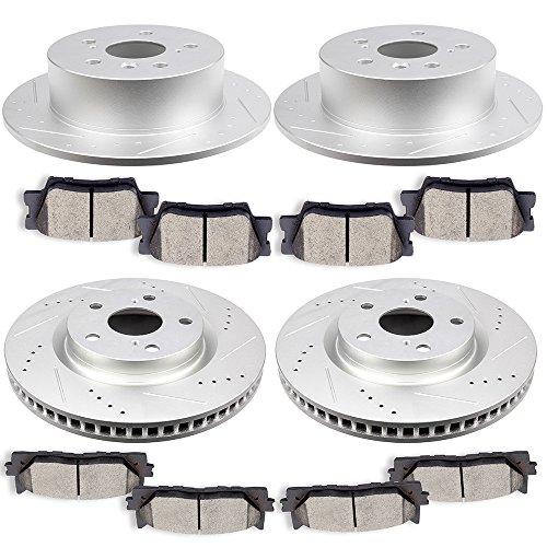 SCITOO Brake Parts, 4pcs Discs Brake Rotors and 8pcs Ceramic Brake Pads Full Kit Slotted Drilled Design Fit for 2007 2008 2009 2010 2011 2012 Lexus ES350 Toyota Avalon