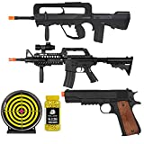 AIRSOFT BUNDLE DEAL - FAMAS STYLE AIRSOFT SPRING RIFLE - M4 STYLE AIRSOFT SPRING RIFLE - 1911 STYLE AIRSOFT SPRING PISTOL - 12 INCH GEL TARGET - BULLDOG 0.12G 2000 BB Pellets