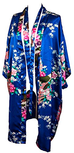 CC Collections Kimono 16 Colours Premium Version Free 1st Class UK Shipping Dressing Gown Robe Lingerie Night wear Dress Bridesmaid Hen Night (Blue Royal)