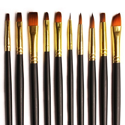 Acrylic Paint Brushes - 10 Set for Art and Craft Supplies w/Case for Acrylic, Watercolour and Oil Painting. Variety of Sizes for Hobby and Professional Artists. Premium Durable Nylon (Have Brush)