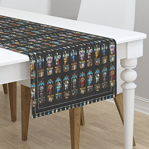 Table Runner - Brontes Haworth England Church Stained Glass Window Saints by Peacoquettedesigns - Cotton Sateen Table Runner 16 x 108