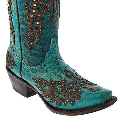 Pistole Doro - Womens Turchese Con Ali E Stivali Da Cowboy In Pelle Con Borchie Incrociate Color Turchese
