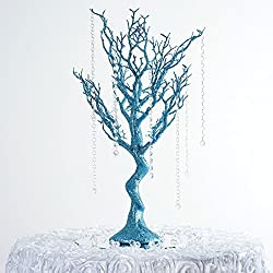 "Efavormart 30"" Glittered Manzanita Centerpiece Tree for Wedding Banquet Birthday Party Event Tabletop Decorations - Turquoise"