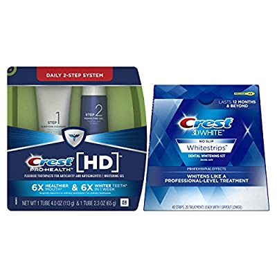 Crest Pro-Health HD Daily Two-Step Toothpaste System 4.0oz and 2.3oz Tubes & Crest 3D White Luxe Whitestrips Professional Effects - Teeth Whitening Kit 20 Treatments Bundle