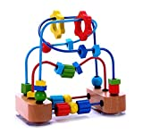 Classic Bead Maze Activity Cube Wooden Toy for Baby - Toddler - Small Wooden Roller Coaster Sliding Beads On Sturdy Wire Frames w Suction Cup - Classic First Developmental & Educational Toys for 1 &