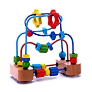 Premium Bead Maze Activity Cube for Baby, Toddler Wooden Rollaer Coaster Sliding Beads on Durable Wire Frames With Suction Cups - Classic Developmental Toy for Babies, 1 & 2 Year Olds