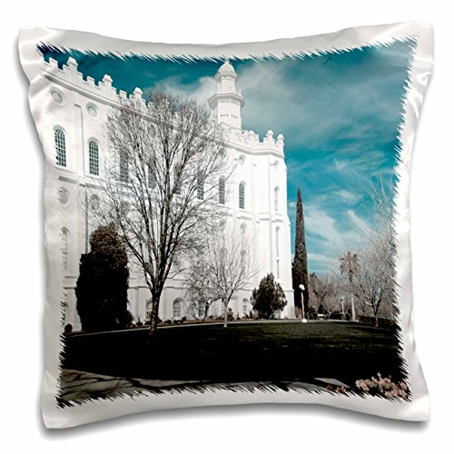 3dRose The St. George, Utah LDS Temple for the Church of Jesus Christ of Latter Day Saints in Cool Tones - Pillow Case, 16 by 16-inch (pc_47501_1)