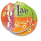 CounterArt Absorbent Stoneware Car Coaster, Live Laugh Love Bright, Set of 2