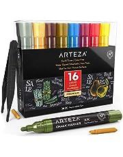 ARTEZA Rotuladores de tiza líquida | Set de 16 Colores pastel | Puntas recambiables | Pinzas, 50 etiquetas y 2 plantillas | Rotuladores para cristal borrables | Para múltiples superficies