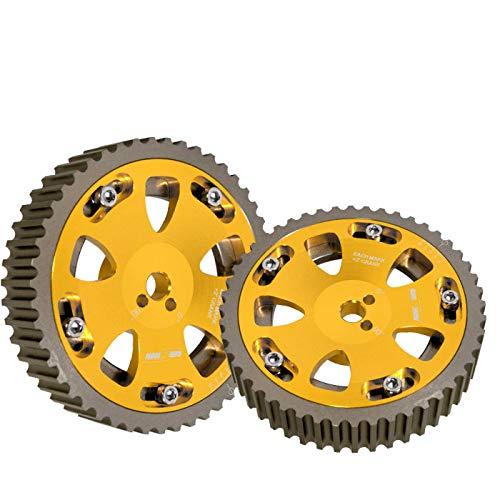 (Fit Mitsubishi EVO 1-8/Eclipse/Galant/Dodge Colt (4G63 Engine Only) ReplacementAdjustable 2 Piece Cam Gear Shaft Wheel Gold)