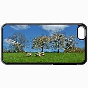 Fashion Unique Design Protective Cellphone Back Cover Case For iPhone 5C Case Field Trees Sheep Landscape Black