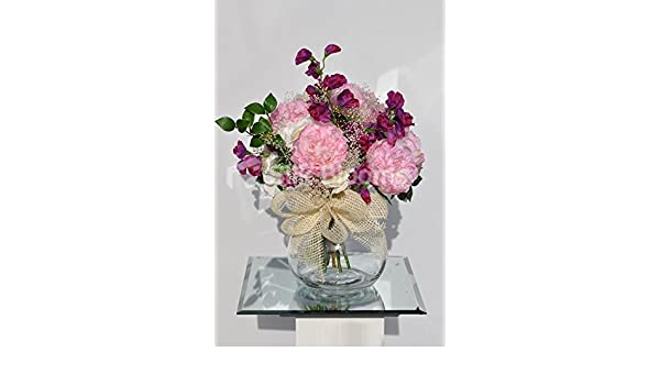 Amazon.com: Sweet Artificial Pink Peony Fishbowl Vase Display with Fuschia Sweetpea: Home & Kitchen